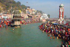 Puja ceremony on the banks of Ganga Stock Photo
