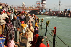 Puja ceremony on the banks of Ganga river royalty free stock images