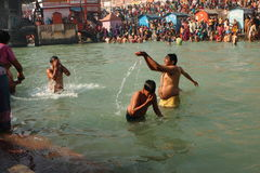 Puja ceremony on the banks of Ganga river Stock Photos