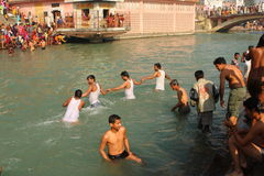 Puja ceremony on the banks of Ganga river Royalty Free Stock Photo