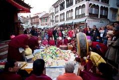 Puja ceremony at the Boudhanath stupa in Kathmandu stock photography