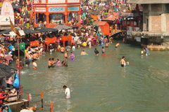 Puja ceremony on Ganga river stock images