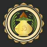 Puja Kalasha also kalash or kalasa. Metal pot used in Hindu rites. And depicted in Hindu iconography. Vector illustration Royalty Free Stock Images