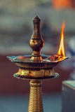 Puja Lamp in Hindu Temple Stock Photo