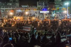 Varanasi, India. Puja on the River Ganges Stock Photo