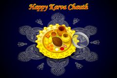 Puja Thali for Karva Chauth Stock Images