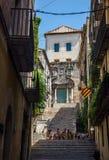 Pujada de Sant Domenec square of Girona. Spain. Stock Photos