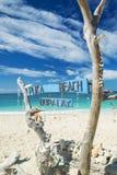 Puka海滩在博拉凯海岛菲律宾 图库摄影