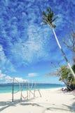 Puka海滩签到博拉凯海岛菲律宾 免版税库存图片