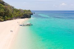 Puka Shell Beach. Wide tropical beach with white sand. Beautiful white beach and azure water on Boracay island stock images