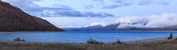 美丽风景湖pukaki重要旅行的目的地在南岛新西兰 图库摄影