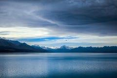 Pukaki lake, Mount Cook, New Zealand. Pukaki lake at sunset, Mount Cook, New Zealand Royalty Free Stock Images