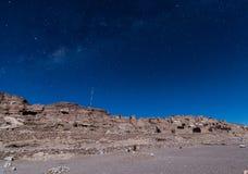 Pukara von Lasana in einer sternenklaren Nacht stockfotos