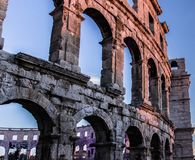 PULA, ΚΡΟΑΤΙΑ που επιζούν των ρωμαϊκών χώρων στον κόσμο, αρχαίο μνημείο στοκ εικόνα