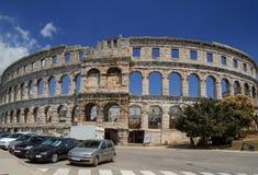 pula назначения Хорватии амфитеатра турист стародедовских известных римский Стоковое Изображение