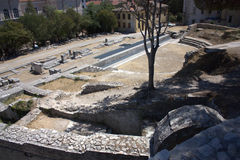 Pula - The ancient theatre. The old theatre on the top of the hill of Pula Stock Photos