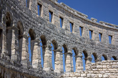 Pula - Arches at the Arena. A particular of the arcade of the arena Royalty Free Stock Photography