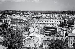 Ancient Arena in Pula, Istria, Croatia, colorless. Pula Arena - ancient amphitheater located in Pula, Istria, Croatia. Travel destination. Famous object. Black stock photos