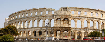 The Pula Arena - Croatia. The Pula Arena is the name of the amphitheatre located in Pula, Croatia. The Arena is the only remaining Roman amphitheatre to have Stock Photo
