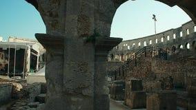 Pula-Arena, römisches Amphitheater in den Pula, Kroatien stock footage