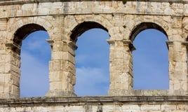 Pula, Croácia - anfiteatro romano - detalhe imagens de stock royalty free