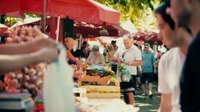PULA, CROATIA - AUGUST 4, 2017. People buying fresh vegetables at local marketplace. PULA, CROATIA - AUGUST 4, 2017. People buying fresh vegetables at the stock photography