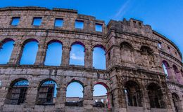 PULA, CROATIA surviving Roman arenas in the World, ancient monument stock photos
