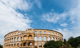 Pula Croatia Roman time arena detail UNESCO world heritage site. Royalty Free Stock Photo