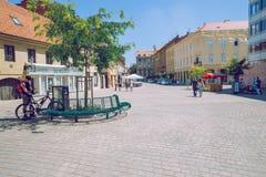Pula Crotia, 2016, gatasikt gammal stad Det ` s ett loppfoto arkivfoton