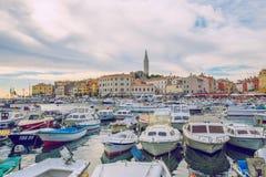 Pula, Crotia, 2016, Street view. Old city and boats. It`s a trav royalty free stock photo