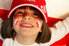 Ventilador de deportes polaco de la muchacha Imagen de archivo