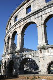 Pula in Istria, Croatia. Ancient amphitheatre of Pula in Istria, Croatia royalty free stock photo