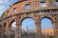 Pula, Istria, Croatia: the ancient Roman Arena. A 1st-century amphitheatre, one of the best preserved of antiquity royalty free stock photo