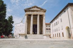 Pula oud stadscentrum, Kroatië Reisfoto royalty-vrije stock foto