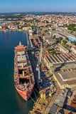 Pula panorama with old shipyard Stock Photo