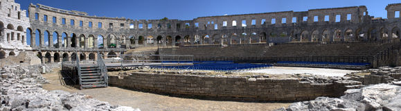 Pula - Panoramic of the Arena. Internal view of the arena of Pula Royalty Free Stock Photos