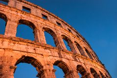 Pulaarenan, forntida romersk amfiteater, forntida sikt royaltyfria foton
