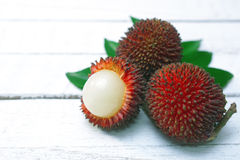 Pulasan fruit (Nephelium mutabile Blume). Is a tropical fruit closely linked to the rambutan. Pulasan is wild rambutan. The skin is thick with short and stumpy Stock Image