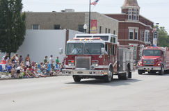 Pulaski Fire Department Engine Truck. SEYMOUR, WI - AUGUST 4: Pulaski Fire Department Engine Truck at the Annual Hamburger Festival Parade on August 4, 2012 in stock image