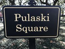 Pulaski fyrkant i mitt av savannahen, Georgia Arkivbilder