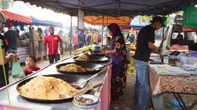 PULAU LANGKAWI, MALAYSIA - APR 4th 2015: Traditional asian food on the street food and night market on Langkawi island Stock Image