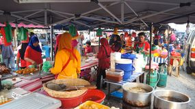 PULAU LANGKAWI, MALAYSIA - APR 4th 2015: Traditional asian food on the street food and night market on Langkawi island Royalty Free Stock Images