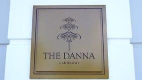 PULAU LANGKAWI MALEZJA, APR, - 4th 2015: DANNA hotel Podpisuje wewnątrz Langkawi DANNA hotel jest nowym luksusowym hotelem wewnąt Fotografia Stock