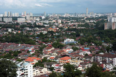 Pulau Pinang Skyline, Malaysia. Cityscape from the high hill of Pulau Pinang Island, Malaysia Royalty Free Stock Photography