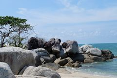 Wonder land island with beautiful beach at Bangka Belitung stock image