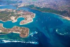 Pulau Serangan (乌龟海岛)和巴厘岛空中照片  图库摄影