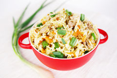 Pulav pilaf fried rice with meat Royalty Free Stock Photo
