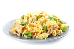 Pulav pilaf fried rice with meat Royalty Free Stock Image