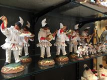 Pulcinella statues, folklore in Naples stock images