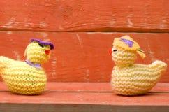 Pulcini di lana tricottati fatti a mano di Pasqua su fondo di legno rosa Immagini Stock